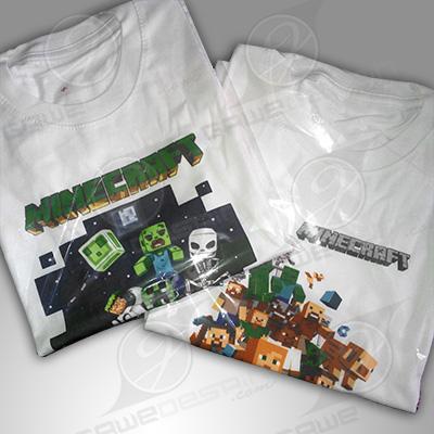 Kaos Sablon DTG Minecraft / Desain&Cetak