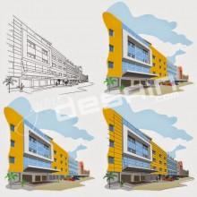 Ilustrasi Vektor Grand Cempaka Dua Hotel / Desain